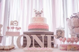 Pink and Grey theme girl first birthday