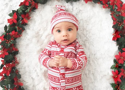 Baby christmas pictures at home.